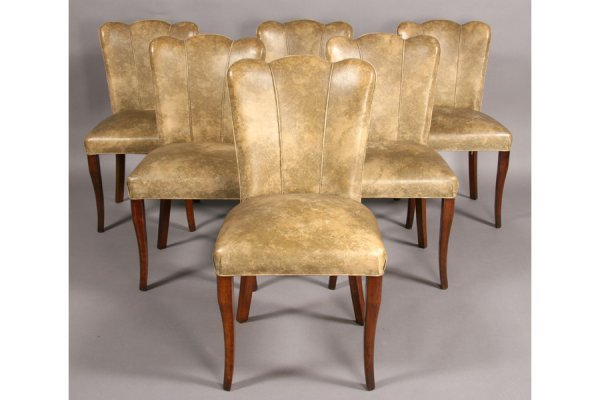 12: SET 6 ART DECO DINING CHAIRS 1940