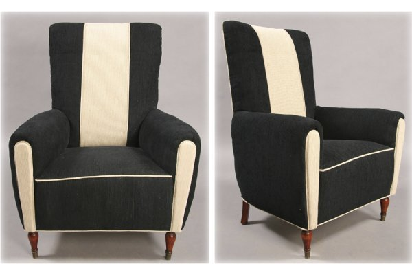 13: 2 VINTAGE FRENCH CLUB CHAIRS 1940