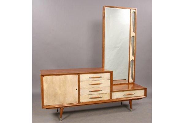 19: Modern parchment vanity dresser