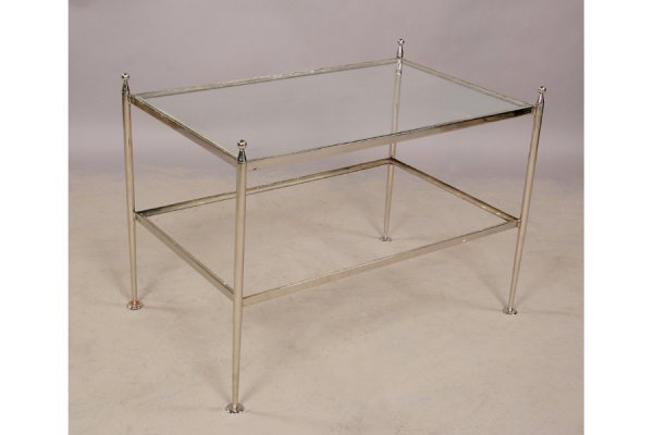 20: Modern chrome glass 2 tiered coffee table