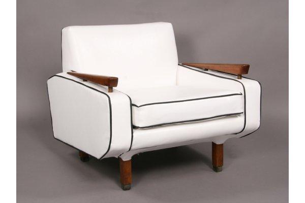 22: Modern upholstered club chair 1960 black & white