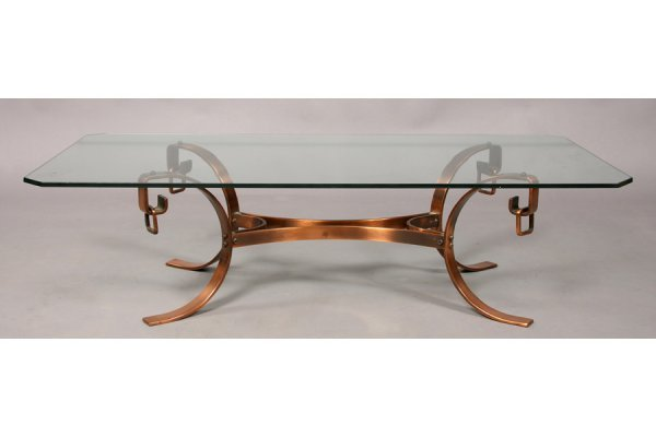 33: MODERN COPPER GLASS COFFEE TABLE