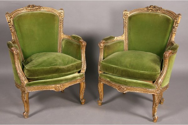 138: PR VINTAGE FRENCH LOUIS XV STYLE BERGERES CHAIRS