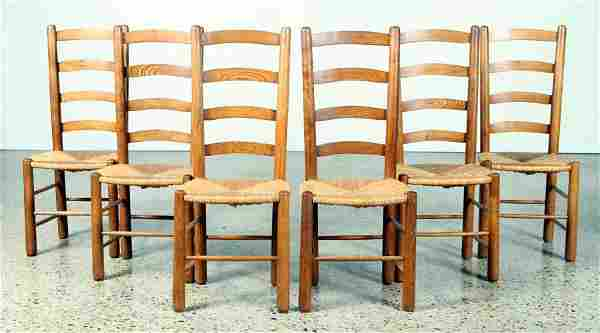 SET 6 OAK DINING CHAIRS MANNER PERRIAND