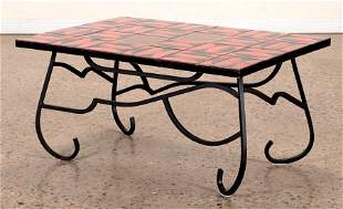 FRENCH TILE TOP COFFEE TABLE IRON BASE C. 1970