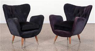 PAIR UPHOLSTERED LOUNGE CHAIRS BY PAULO BUFFA