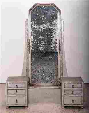 FRENCH SILVERED VANITY MIRROR C. 1940