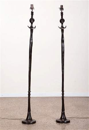 PAIR BRONZE FLOOR LAMPS MANNER OF GIACOMETTI.