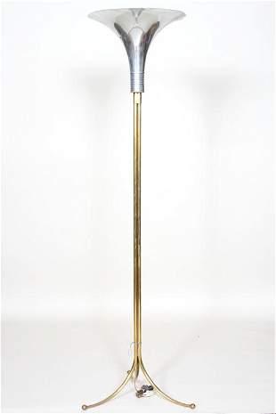 BRASS CHROME FLOOR LAMP TRUMPET FORM SHADE 1950