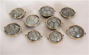 NINE FRENCH BRONZE CEILING LIGHTS GLASS LENSES