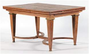 FRENCH OAK BRONZE DINING TABLE ATTR. KOHLMAN