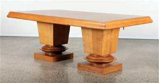 ALBERT GUENOT FRENCH DOUBLE PEDASTAL DINING TABLE