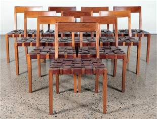 SET OF 10 DANISH STYLE DINING CHAIRS C. 1940