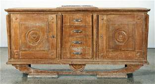 FRENCH CERUSED OAK SIDEBOARD MARBLE TOP C. 1940