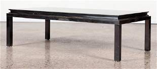 FRENCH PATINATED IRON AND MIRROR COFEE TABLE C. 1970