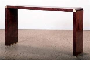 BURL WALNUT ITALIAN CONSOLE TABLE C. 1975