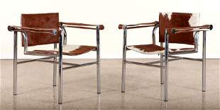 PAIR LE CORBUSIER STYLE CHROME SLING CHAIRS 1960