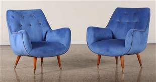 PAIR ITALIAN UPHOLSTERED LOUNGE CHAIRS C. 1960