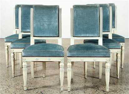 SET 6 FRENCH DIRECTOIRE STYLE DINING CHAIRS 1900