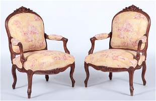 PAIR FRENCH WALNUT LOUIS XV STYLE OPEN ARM CHAIRS