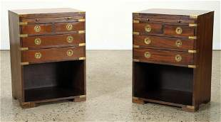 PAIR FRENCH MAHOGANY CAMPAIGN STYLE NIGHT STANDS