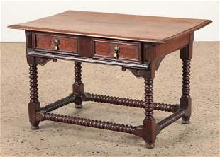 19TH CENTURY WALNUT TABLE INLAID DRAWER FRONTS