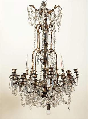 19TH C. FRENCH GILT BRONZE & CRYSTAL CHANDELIER