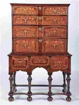 18TH C. WILLIAM AND MARY STYLE WALNUT CABINET