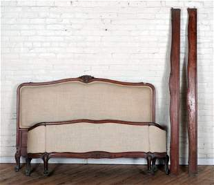 FRENCH LOUIS STYLE QUEEN UPHOLSTERED BED C.1920