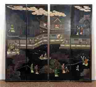 DECORATED CHINESE 4 PANEL SCREEN C. 1940