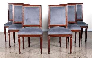 SET 6 FRENCH LOUIS XVI STYLE DINING CHAIRS 1940