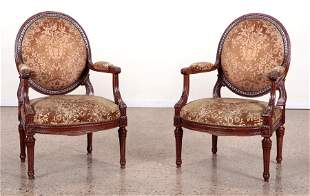 PAIR CARVED LOUIS XVI STYLE OPEN ARM CHAIRS 1920