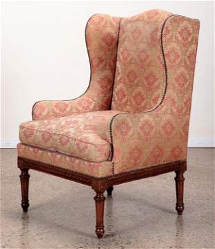 FRENCH CARVED BERGERE CHAIR LOUIS XVI STYLE 1930