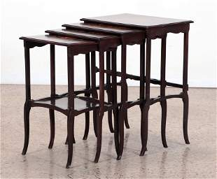 SET 4 MARQUETRY INLAID NEST OF TABLES C.1930