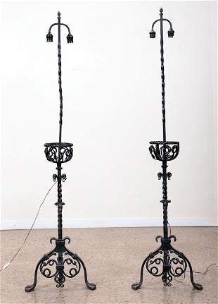 PAIR WROUGHT IRON FLOOR LAMPS MANNER OF YELLIN