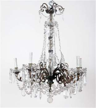 FRENCH BRONZE CRYSTAL CHANDELIER C.1940