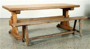 QUALITY FRENCH OAK TRESTLE TABLE AND BENCH 1930