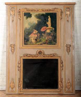 FRENCH PAINTED GILT WOOD TRUMEAU MIRROR C.1930