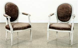 PAIR PAINTED FRENCH OPEM ARM CHAIRS C.1920