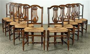 SET 10 COUNTRY FRENCH RUSH SEAT DINING CHAIRS