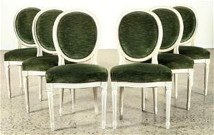 SET 6 FRENCH DINING CHAIRS LOUIS XVI STYLE 1950