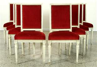 SET 8 FRENCH UPHOLSTERED DINING CHAIRS C.1940