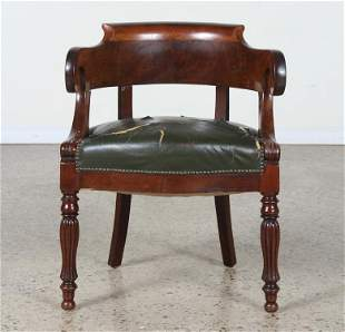 19TH C. FRENCH MAHOGANY DESK CHAIR CURVED BACK