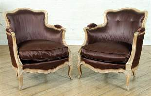 PAIR FRENCH LOUIS XV STYLE BERGERE CHAIRS C.1920