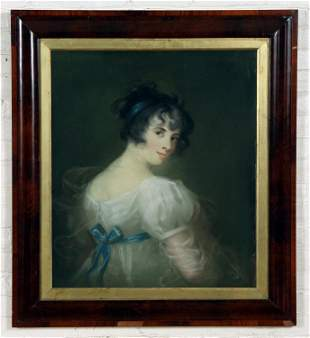19TH C. OIL ON CANVAS PORTRAIT OF YOUNG WOMAN