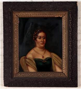 19TH C. OIL ON CANVAS PAINTING OF A NOBLE WOMAN