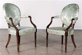 PAIR CUSTOM GEORGE III STYLE MAHOGANY ARM CHAIRS