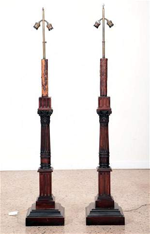 PAIR CARVED MAHOGANY FLOOR LAMPS CIRCA 1910