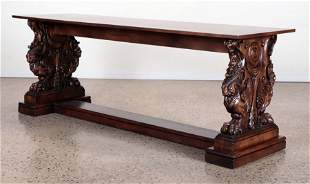 FIGURAL CARVED WOOD CONSOLE TABLE C. 1940