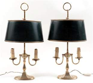 PAIR BRASS ADJUSTABLE TABLE LAMPS C.1940